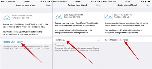 restore whatsapp chat history iphone