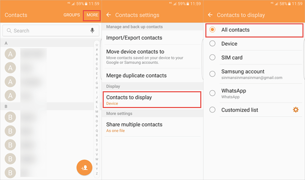 display all contacts on android