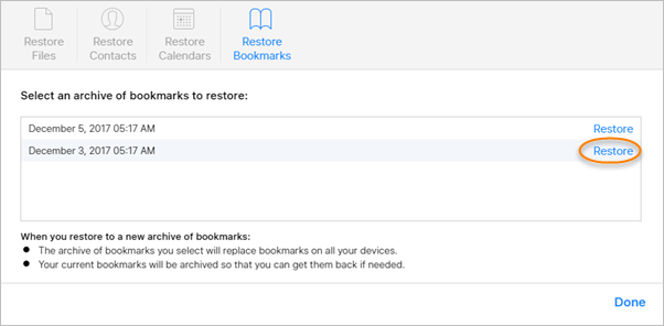 Restore Safari History from iCloud