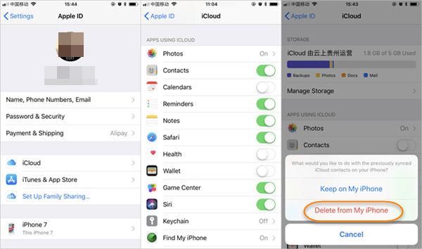 turn off contacts in icloud