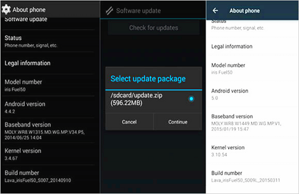 Android Upgrade Package