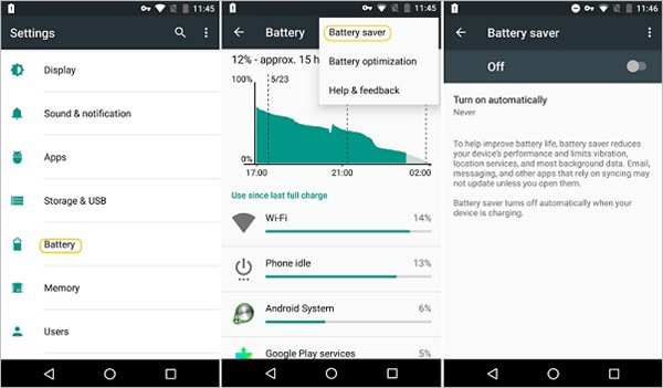 Disable Battery Saver on Android
