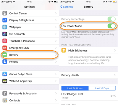 Disable Low Power Mode on iPhone