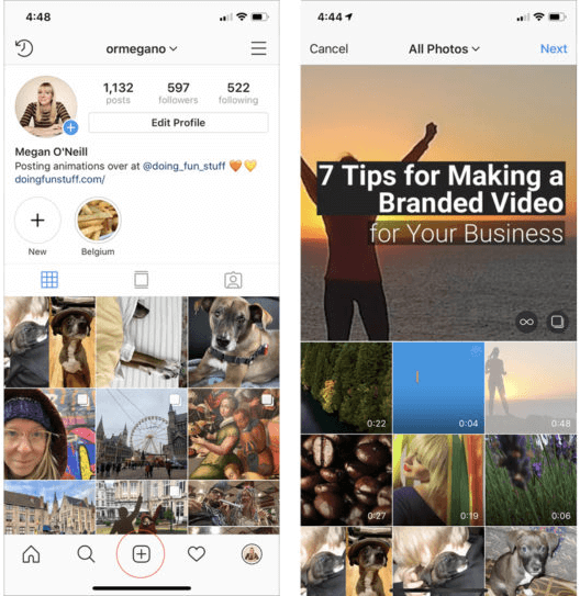 share youtube video on instagram