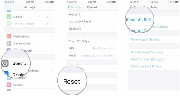 reset all settings iphone