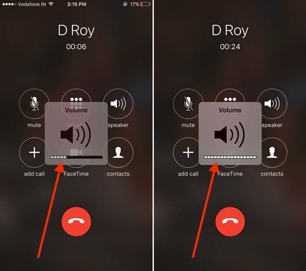 adjust call volume iphone