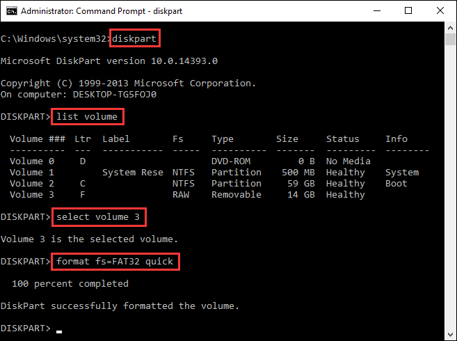 change file system via command prompt
