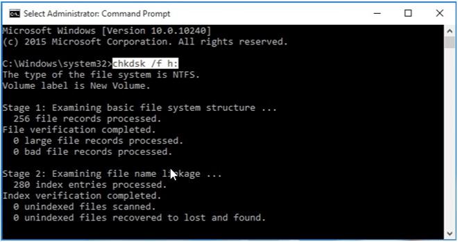 repair error with chkdsk