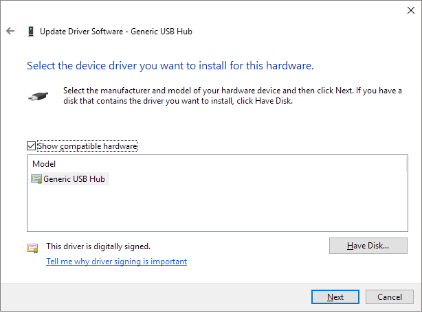 select driver to update