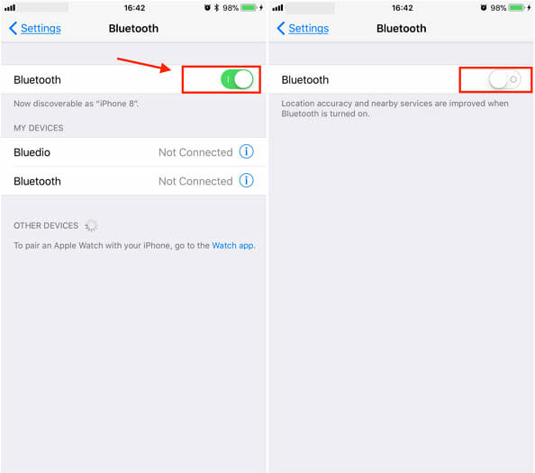 turn off bluetooth on ios