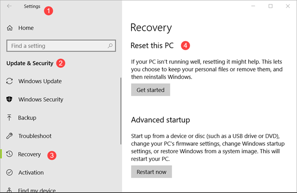 recovery options windows 10