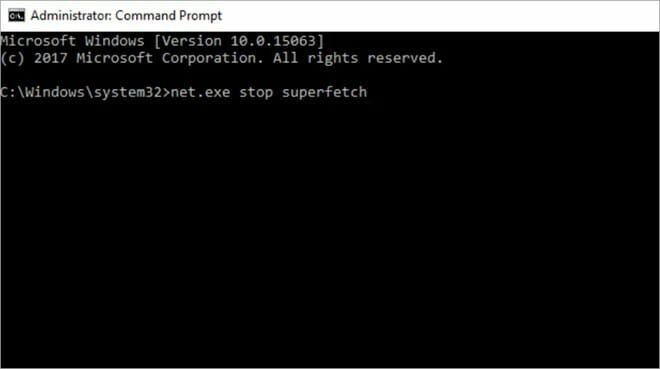 disable superfetch from command prompt