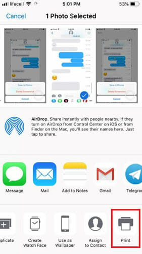 print iphone texts by taking screenshot
