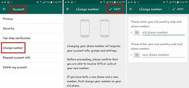 change whatsapp number