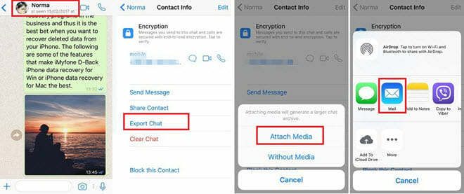 Export WhatsApp Chats via Email