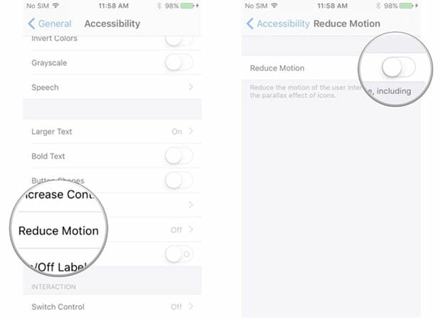 disable reduce motion on iphone