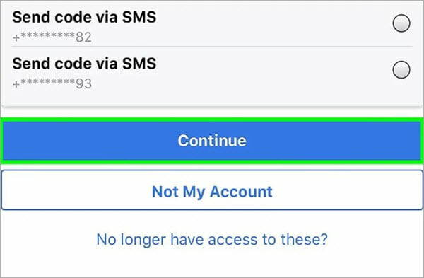 recover facebook password via sms