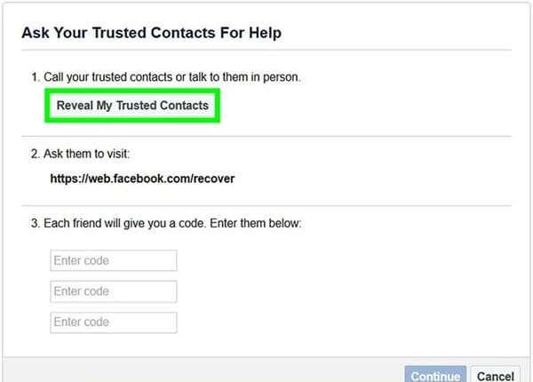 recover facebook password with trusted contacts