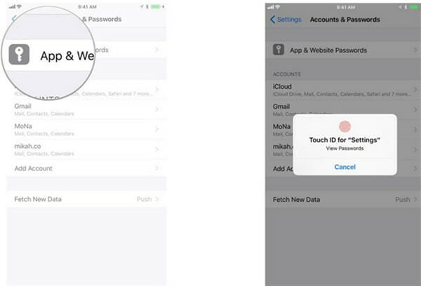 recover gmail password from iphone settings