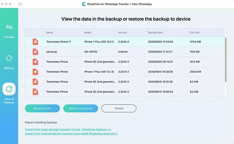 view select backup files
